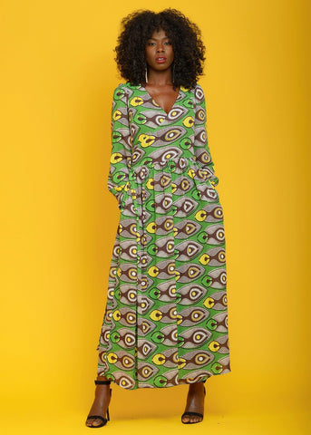 Ekema African Print Chiffon Wrap Maxi Dress (green/black)