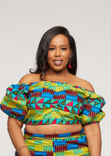Mandere African Pring Crop Top ( Royal Blue Gold Kente)