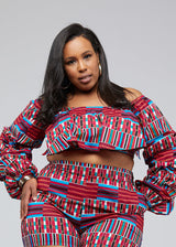 Durah African Print Crop Top (Pink Blue Kente) - Clearance