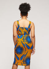 Kaweria African Print Fitted Stretch Sweetheart Dress (Gold Royal Blue Flowers)