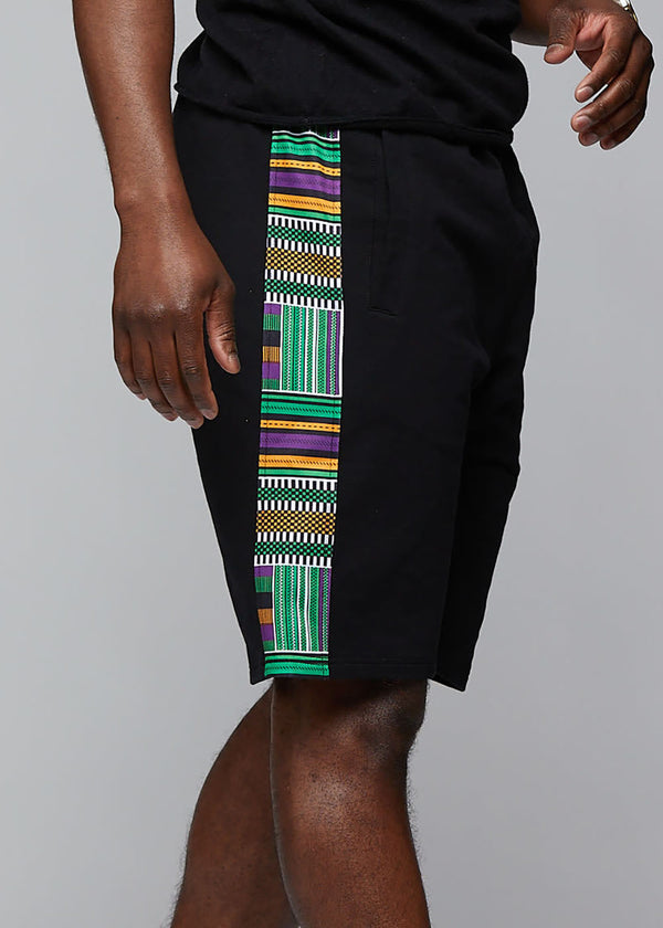 Gimiyu Men's African Print Drawstring Shorts (Black/Green Purple Kente) - Clearance