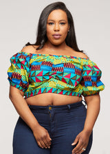 Mandere African Pring Crop Top ( Royal Blue Gold Kente) - Clearance