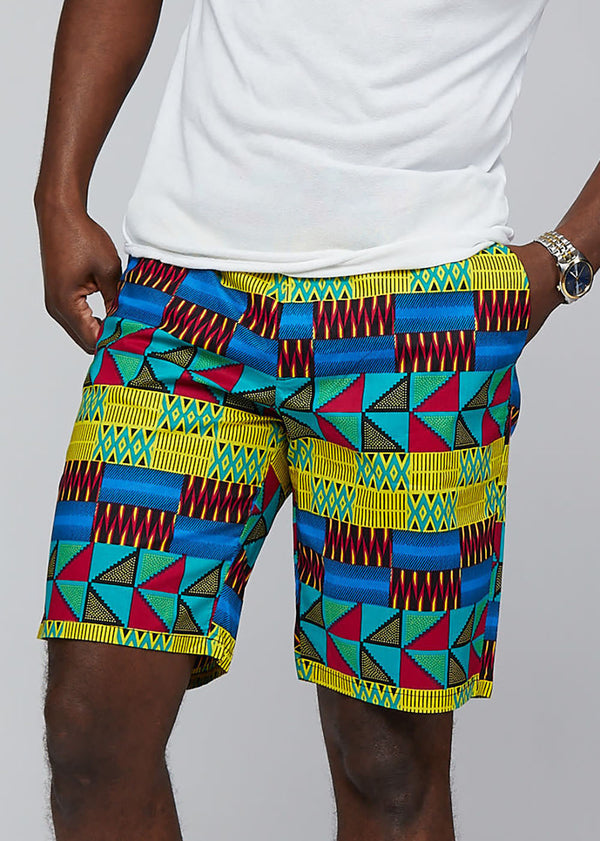 Debare Men's African Print Short (Gold Royal Blue Kente) - Clearance
