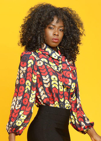 Fana African Print Chiffon Bow Blouse (Red Circles)- Clearance