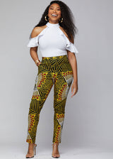 Folabi African Print Skinny Pant with Side Stripe  (Yellow Red Fans)