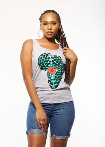 Ginika Women's Africa Tank Top (Aqua Circles/Grey)