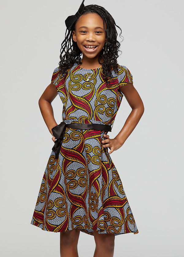 Hediye African Print Girls' Dress with Satin Sash (Red Yellow Vines) - Clearance