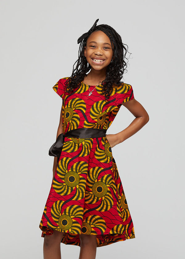 Hediye African Print Girls Dress with Satin Sash (Red Yellow Swirls)