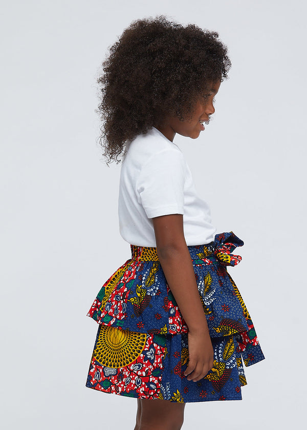 Edrie Girls' African Print Tiered Skirt (Yellow Navy Multipattern)