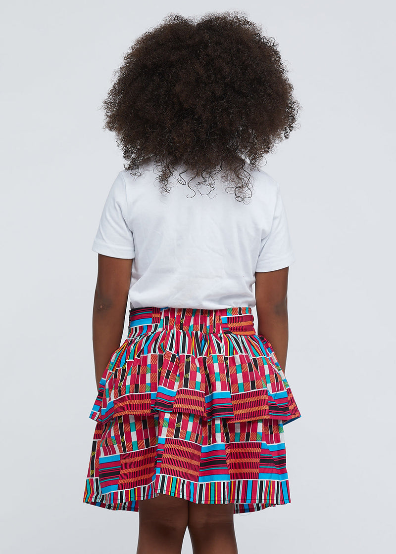 Edrie Girls' African Print Tiered Skirt (Pink Blue Kente) - Clearance