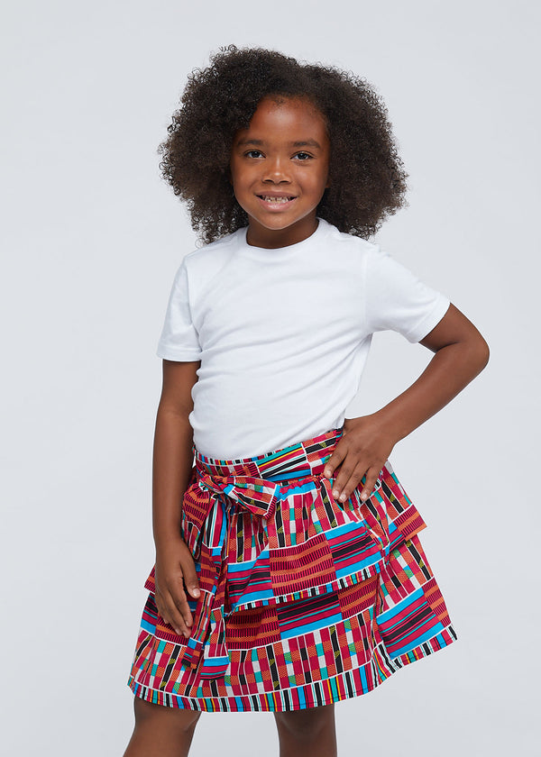 Edrie Girls' African Print Tiered Skirt (Pink Blue Kente)