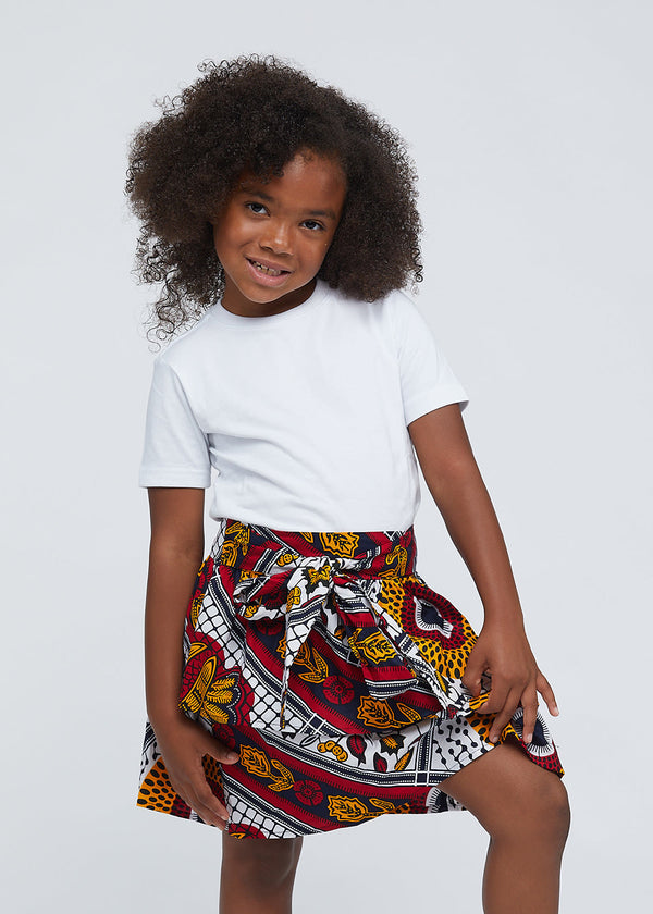 Edrie Girls' African Print Tiered Skirt (White Gold Multipattern)
