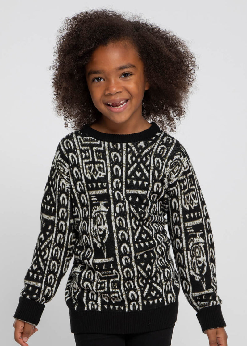 Oma Kid's African Print Sweater (Black White Tribal)