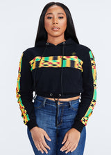 Sare African Print Color Blocked Crop Hoodie (Black/Gold Maroon Kente)
