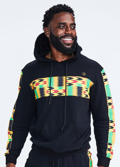 Ibesi African Print Unisex Color Blocked Hoodie (Black/Gold Maroon Kente) - Clearance