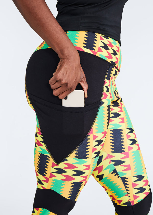Apere African Print Color Blocked Leggings (Gold Maroon Kente)- Clearance