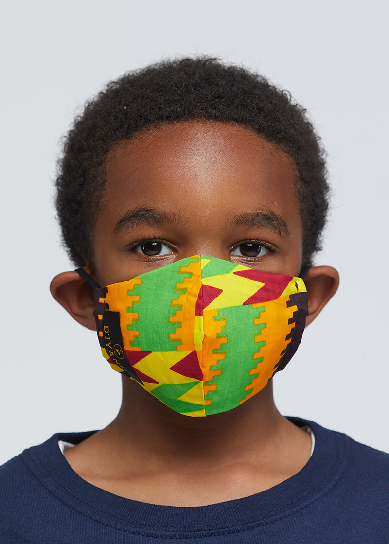 Dabo African Print 2 Layer Reusable Face Mask (Gold Maroon Kente)