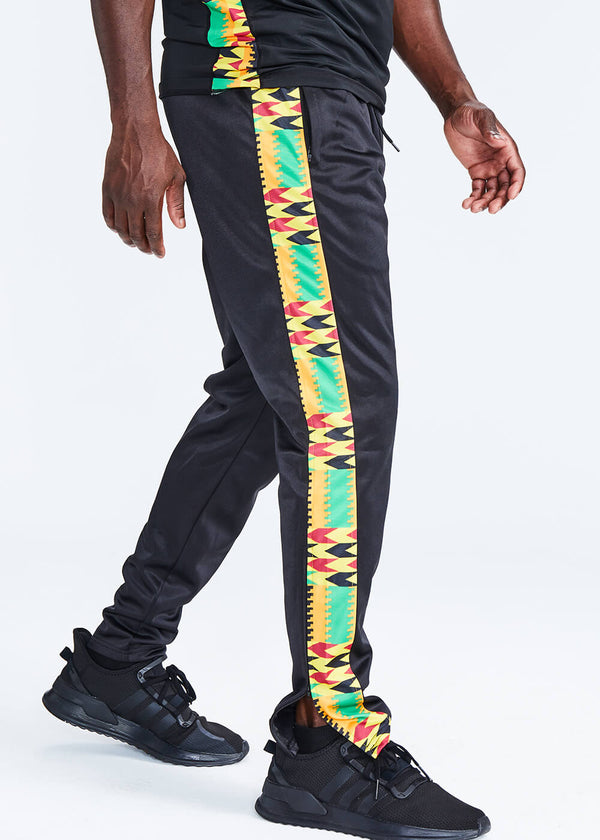 Lagbara African Print Color Blocked Men's Track Pants (Black/Gold Maroon Kente)