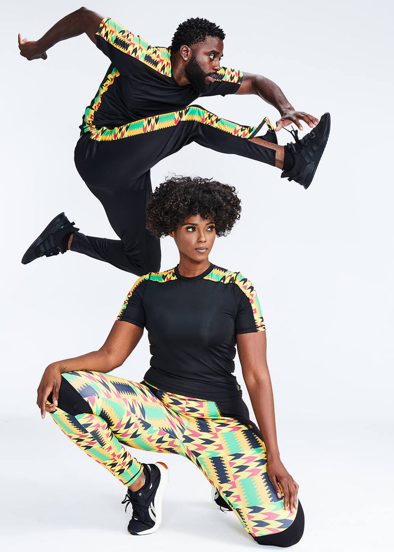 Apere African Print Color Blocked Leggings (Gold Maroon Kente)
