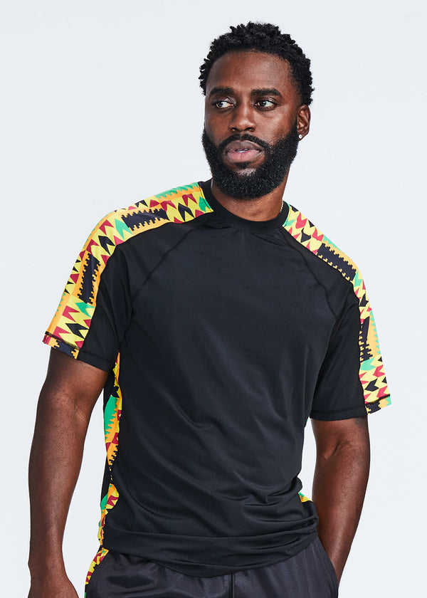 Isan African Print Mens' Performance T-shirt (Black/Gold Maroon Kente)- Clearance
