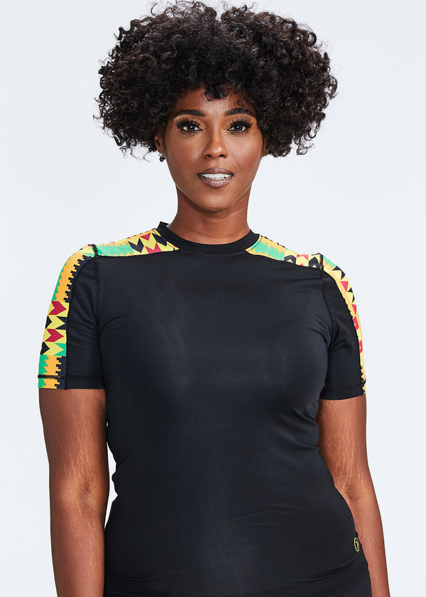 Lowa African Print Performance T-shirt (Black/Gold Maroon Kente)