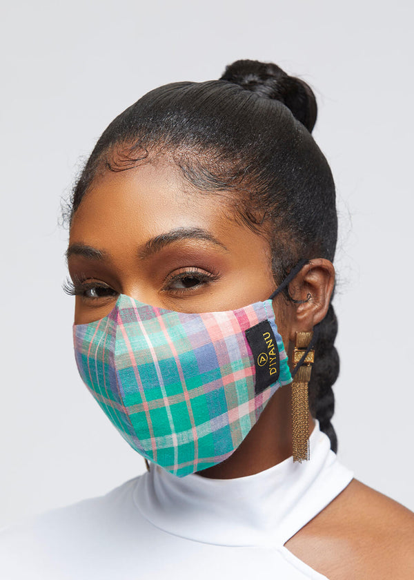 Dabo 2 Layer Reusable Face Mask (Green Pink Plaid)