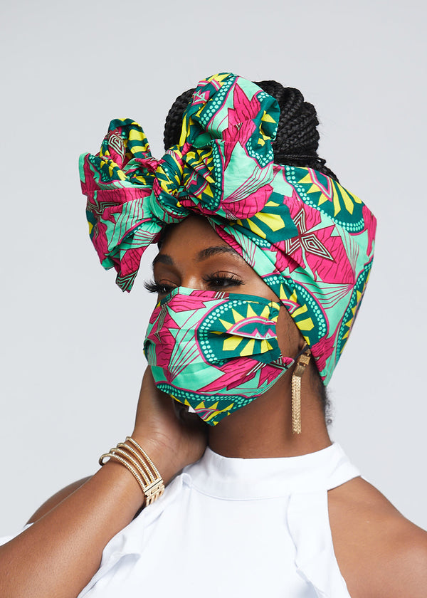 African Print Head Wrap/Scarf (Green Pink Sunrise)