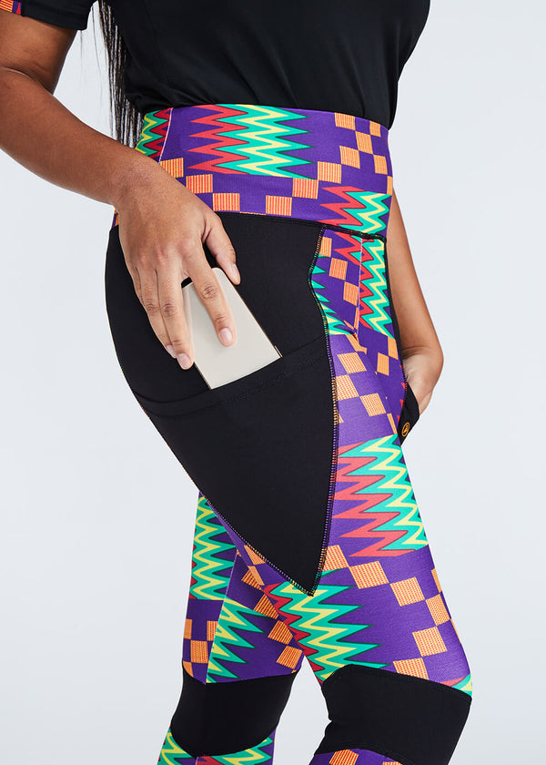 Apere African Print Color Blocked Leggings (Purple Green Kente)- Clearance
