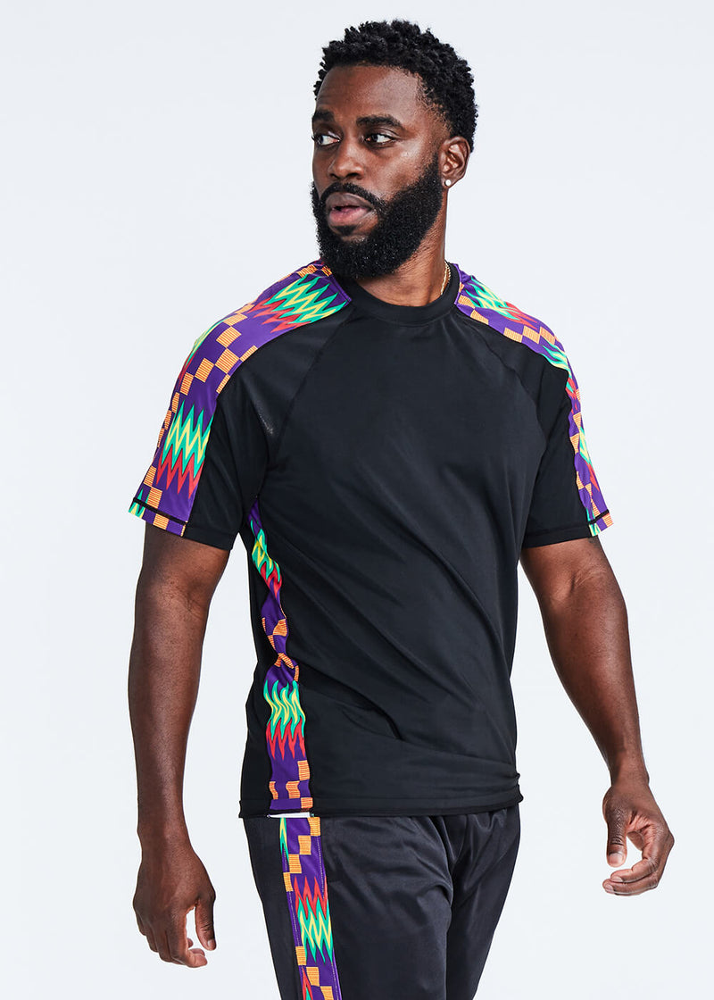 Isan African Print Mens' Performance T-shirt (Black/Purple Green Kente)