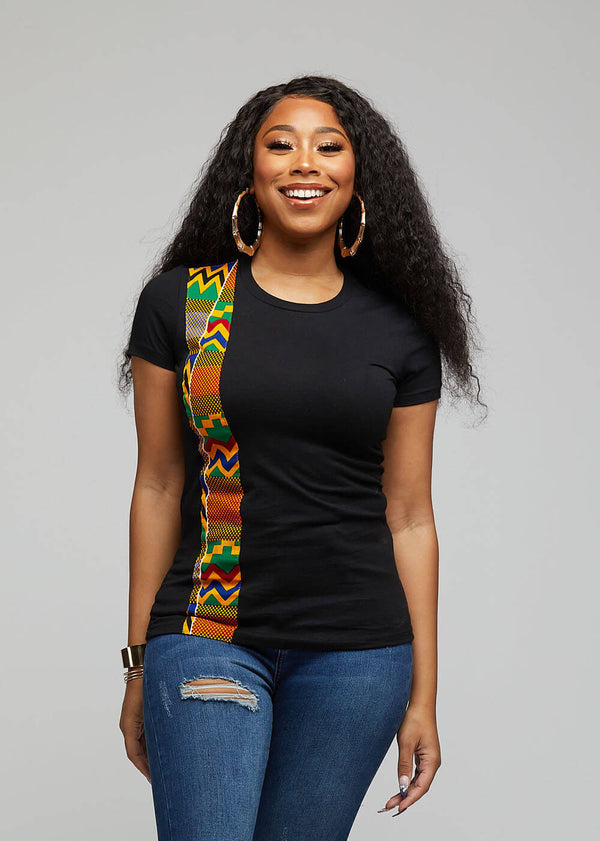 Kasi African Print Short Sleeve T-Shirt  ( Black/Green Yellow Kente)