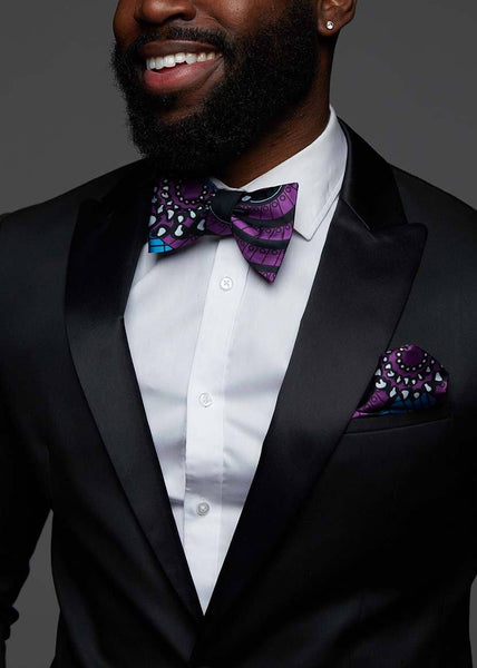 Halif Men's African Print Satin Bow Tie And Pocket Square Set (Blue Purple Swirls)