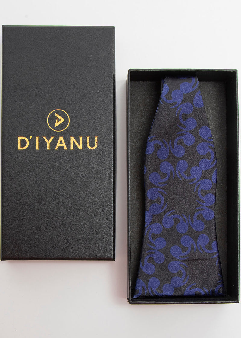 Halif African Print Satin Bow Tie and Pocket Square (Black Blue Flowers) - Clearance
