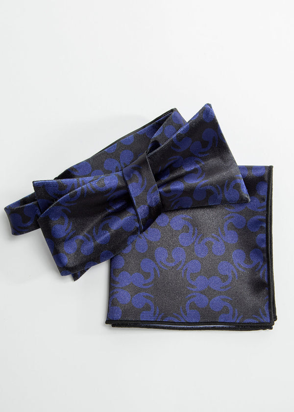 Halif African Print Satin Bow Tie and Pocket Square (Black Blue Flowers)