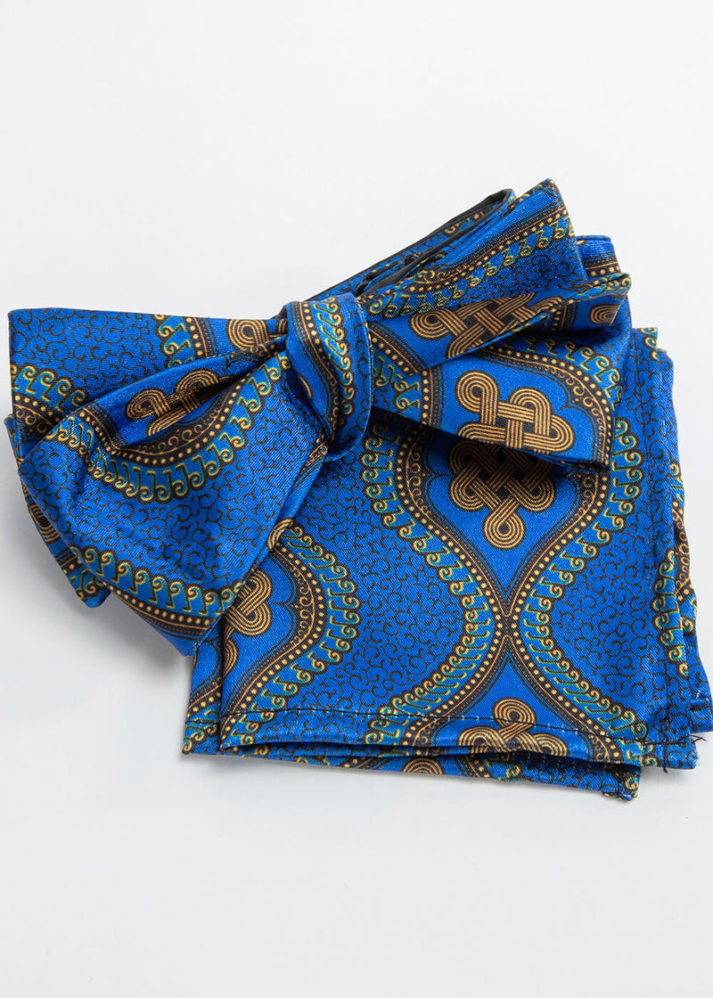 Halif African Print Satin Bow Tie and Pocket Square (Gold Blue Motif)