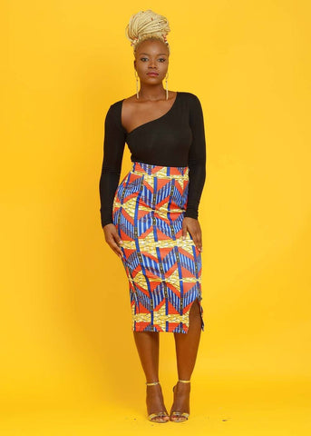Hasana African Print Pencil Midi Skirt (Orange Steps)