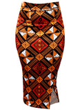 Hasana Stretch African Print Pencil Midi Skirt (Gold Red Diamonds)