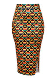 Hasana Stretch African Print Pencil Midi Skirt (yellow/black Kente)