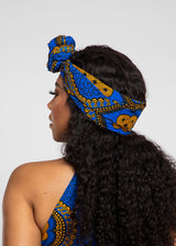 African Print Head Wrap/Scarf (Gold Blue Motif)