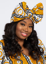 African Print Head Wrap/Scarf (Gold White Mudcloth)