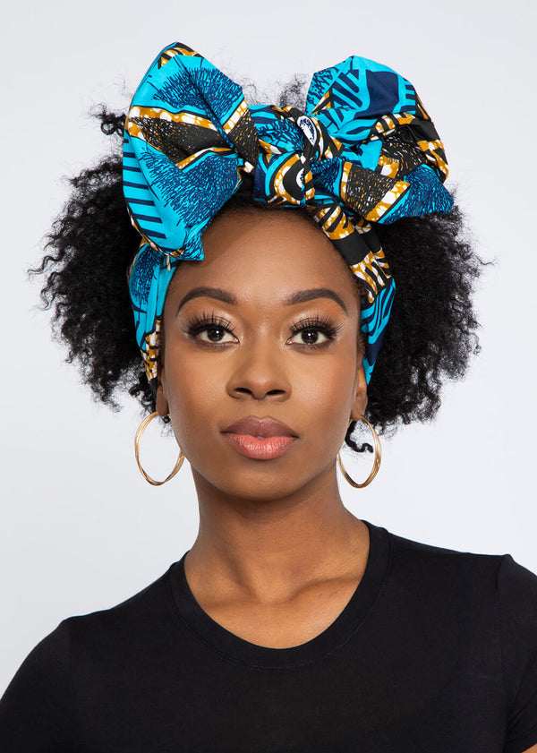 African Print Head Wrap/Scarf (Sky Blue Black Flowers)
