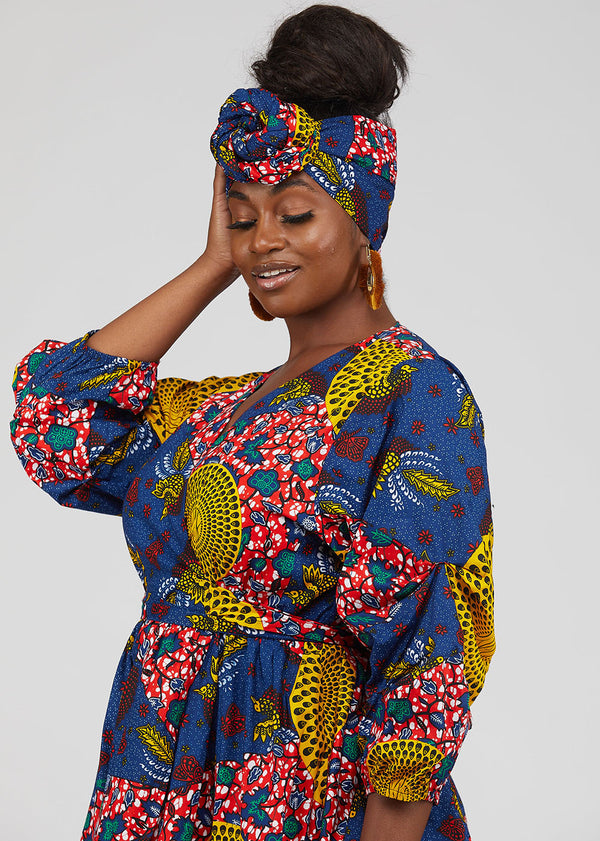 African Print Head Wrap/Scarf (Yellow Navy Multipattern)