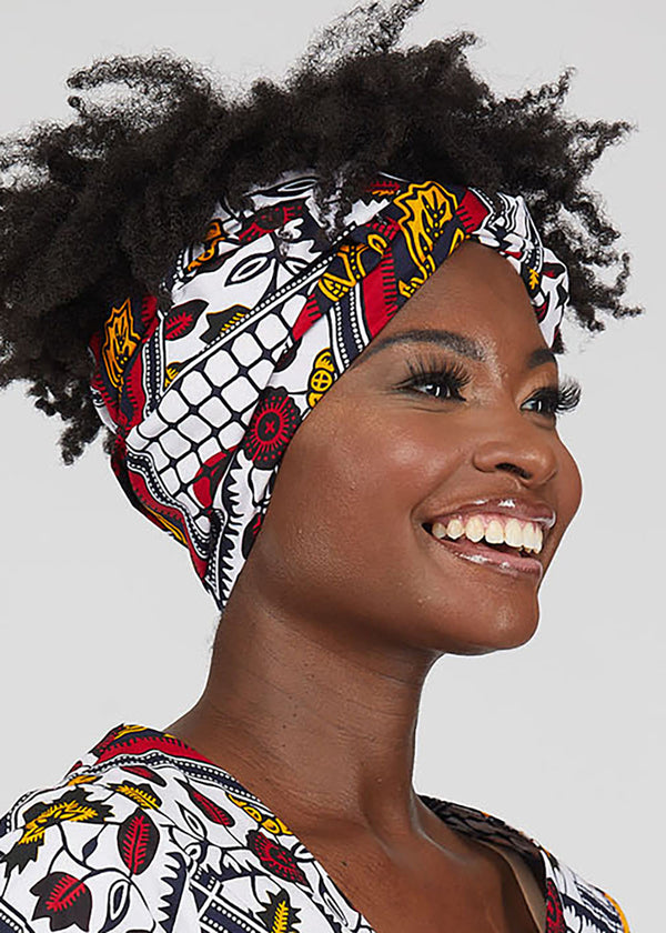 African Print Head Wrap/Scarf (White Gold Multipattern)