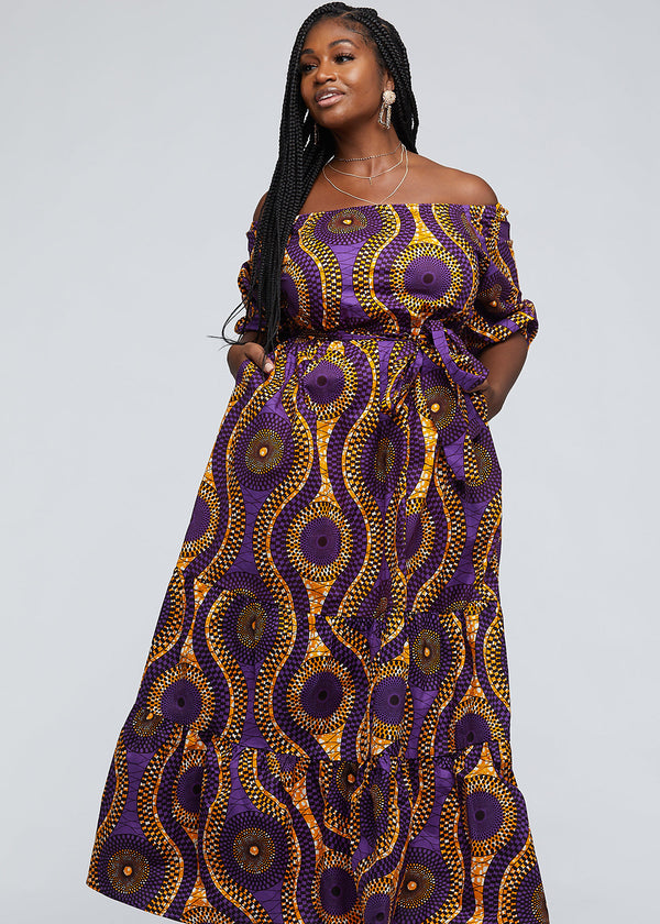 Hiari African Print Tiered Maxi Dress (Gold Purple Circles)