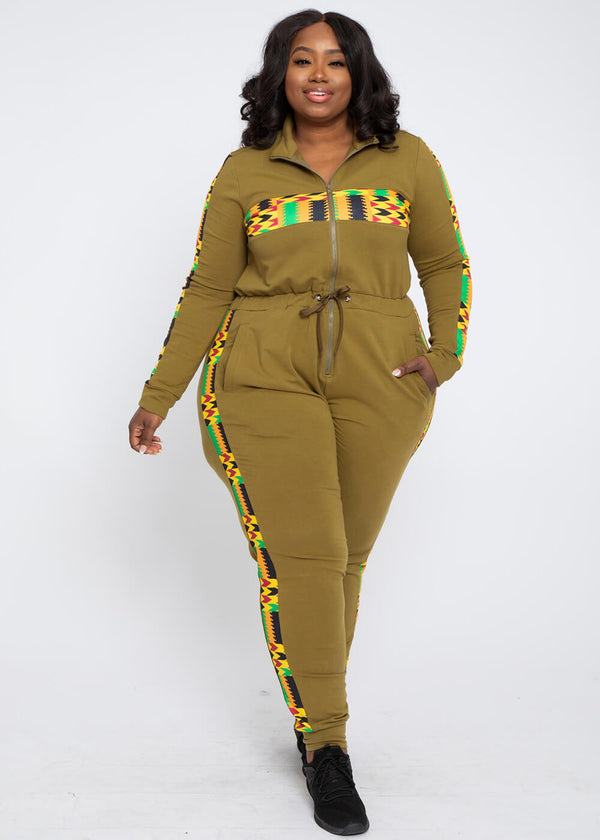 Imuna African Print Color Blocked Zip-Up Jumpsuit (Olive Green/Gold Maroon Kente)