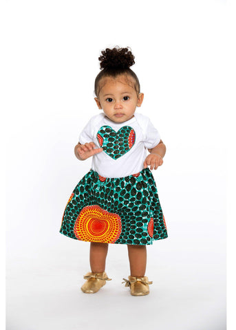 Infant - Bella African Print Baby Girl's Onesie With Heart (Aqua Circles)