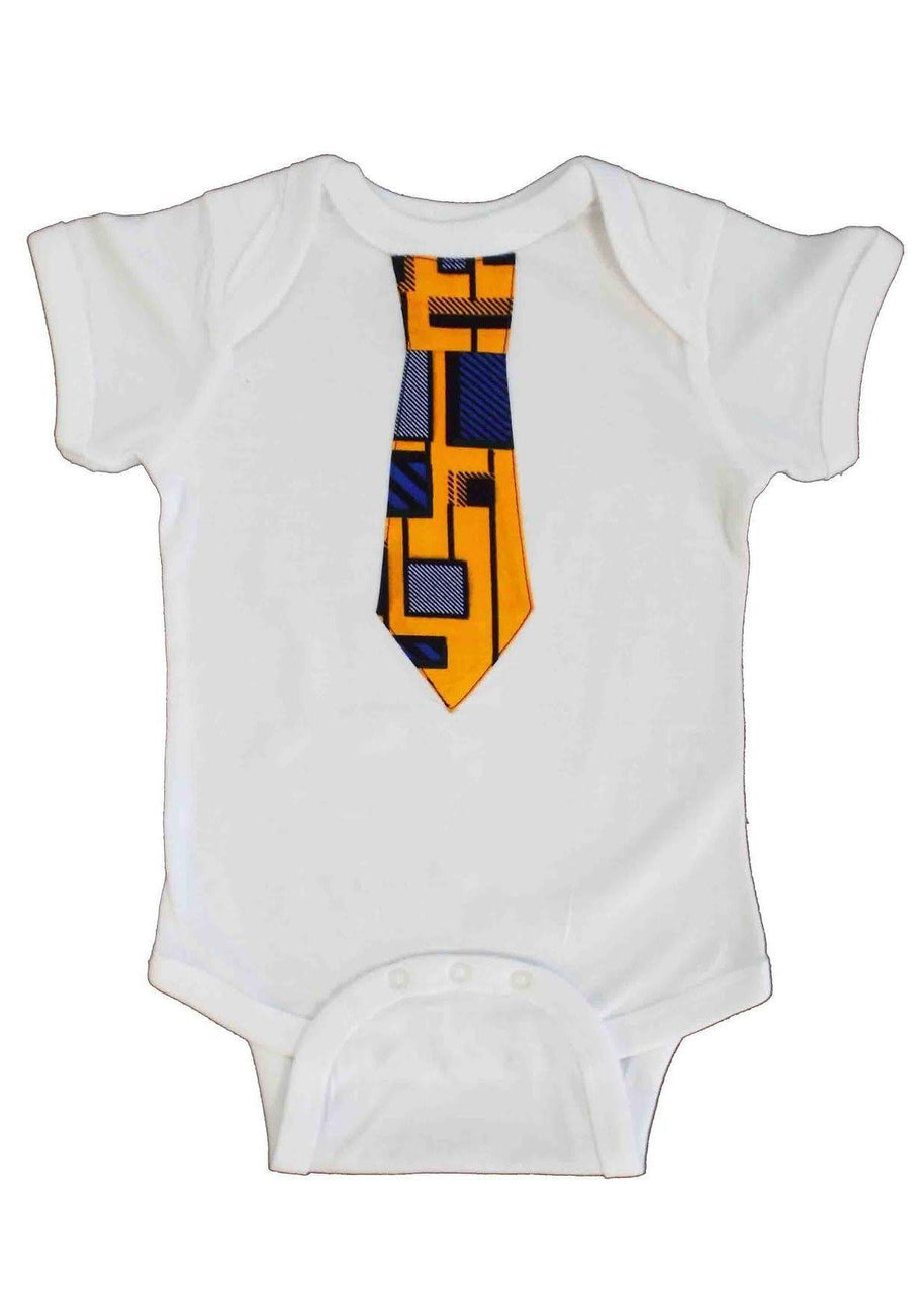 Infant - Femi African Print Little Boy's Onesie With Tie (Yellow/Blue)