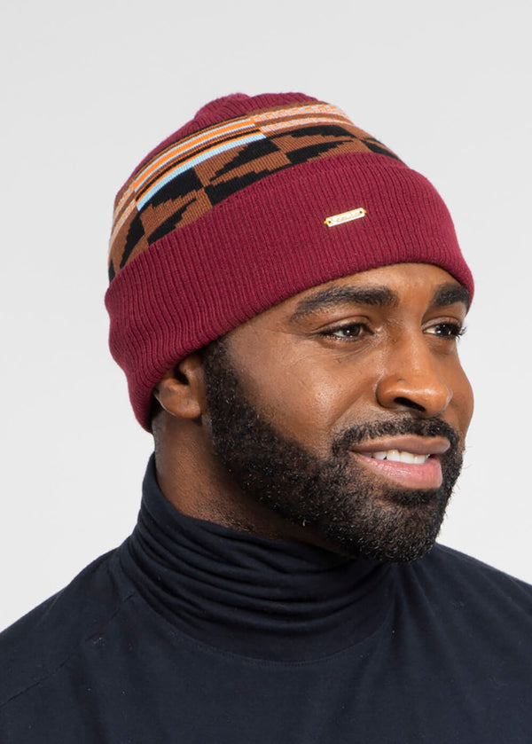 Isimi African Print Color-Block Knit Hat (Maroon/Brown Orange Kente)