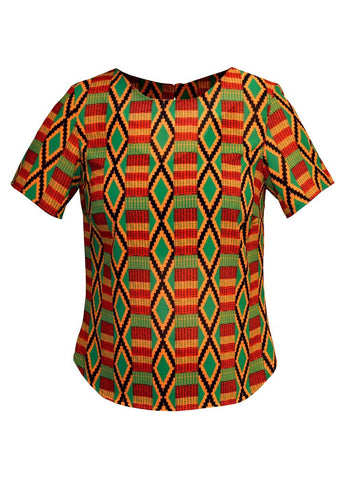 Issa African Print Chiffon Basic Top (Red/Green Kente)
