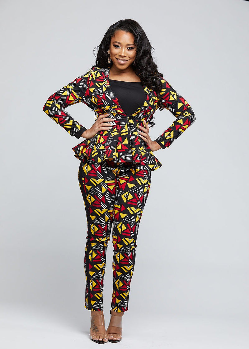 Avana African Print Stretch Peplum Blazer (Red Yellow Geometric)