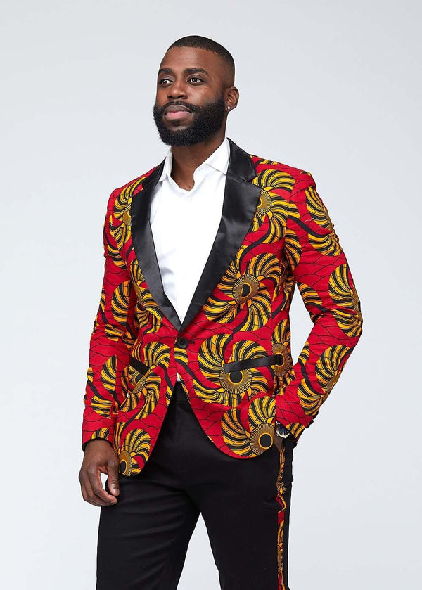 Jackets - Kasim African Print Blazer (Yellow Red Swirls)